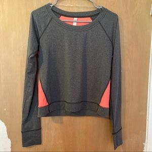 Lucy long sleeve athletic top gray/orange size s
